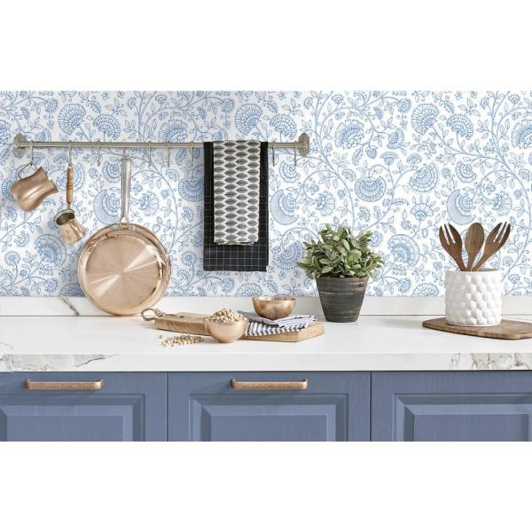 Nextwall Blue Bell Paisley Trail Bohemian Peel And Stick Wallpaper 30 75 Sq Ft Nw36802 The Home Depot