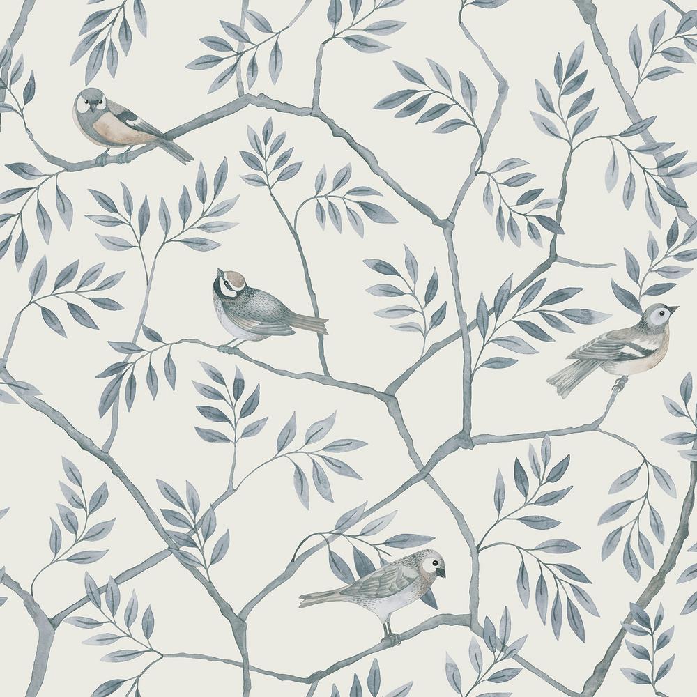Crossbill Light Blue Branches Wallpaper