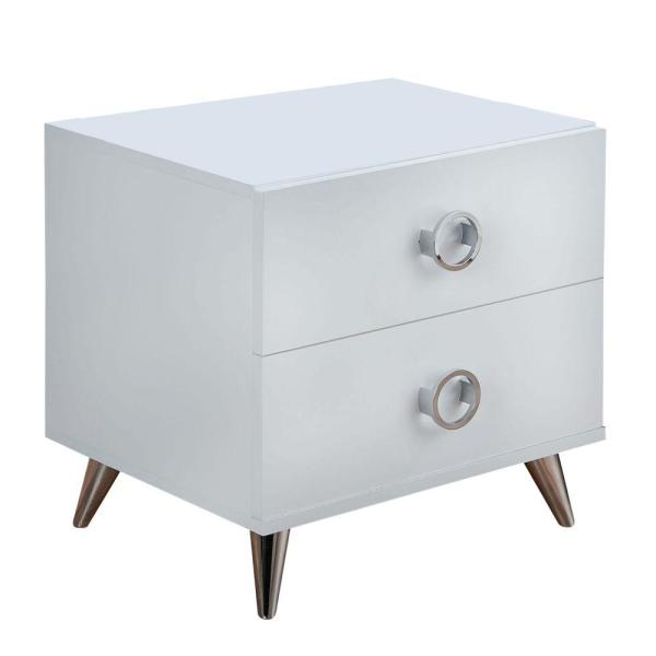 Modern Style 2-Drawer White and Chrome Wood and Metal Nightstand