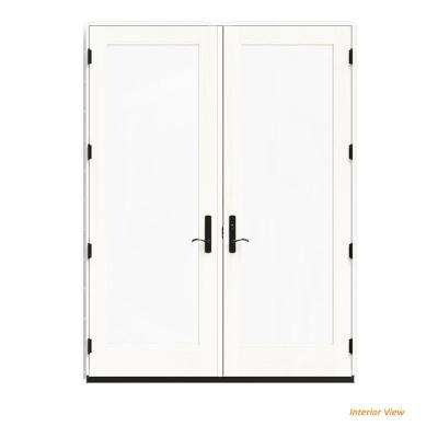 72 in. x 96 in. W-4500 White Clad Wood Left-Hand Full Lite French Patio Door w/White Paint Interior