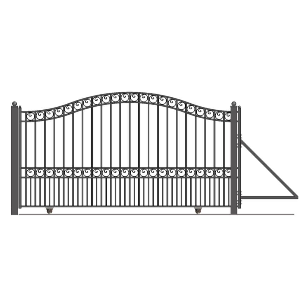 Paris Style 12 ft. x 6 ft. Black Steel Single Slide Driveway Fence Gate