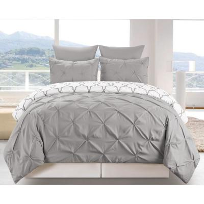 Esy Reversible 3-Piece Duvet King Set in Grey