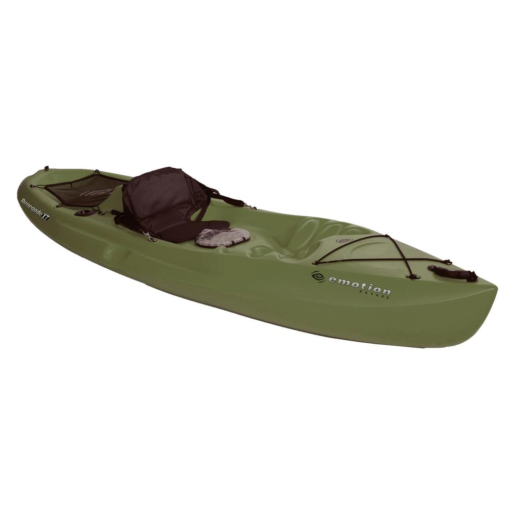 Emotion Renegade XT Kayak 10 ft. in Olive Green with Built-In