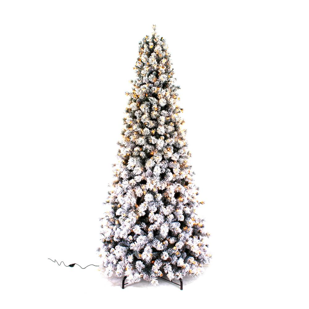 home accents holiday 9 ft pre lit led banff pine flocking quick set artificial