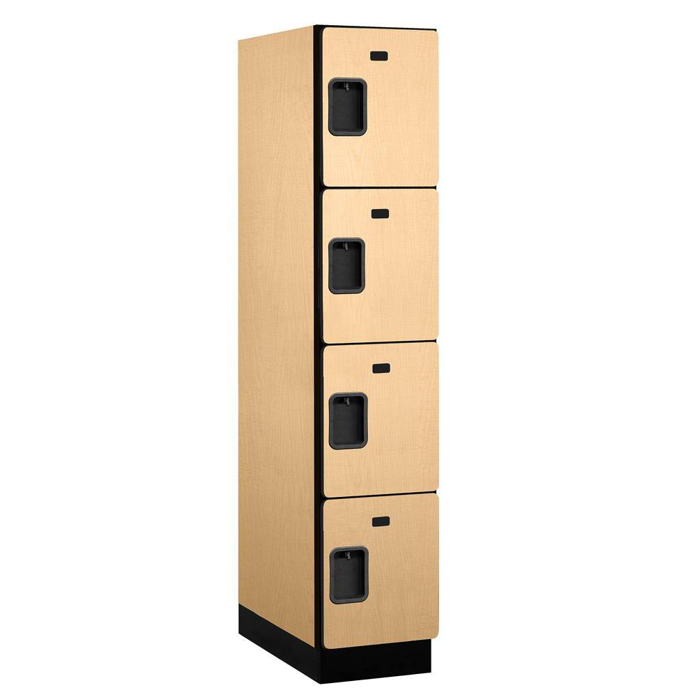 Salsbury Industries 24000 Series 4-Tier 24 in. D 4-Compartments Extra Wide Designer Particle Board Locker in Maple