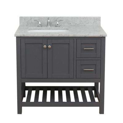 Westchester 37 in. W x 34 in. H Bath Vanity in Gray with Marble Vanity Top in White with White Basin