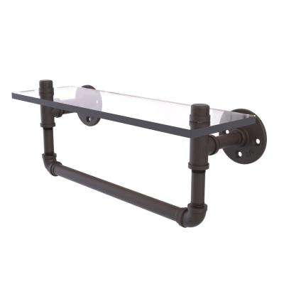 Pipeline Collection 16 in. Glass Shelf with Towel Bar in Oil Rubbed Bronze