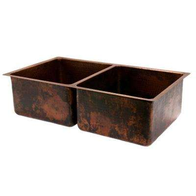 Undermount Hammered Copper 33 in. 0-Hole Double Bowl Kitchen Sink in Oil Rubbed Bronze