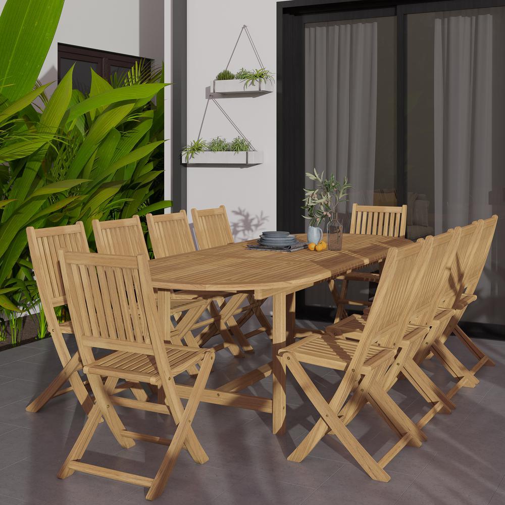 Bergen 11-Piece Teak Patio Dining Set