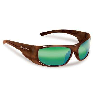 Cape Horn Polarized Sunglasses Tortoise Frame with Amber Green Mirror Lens