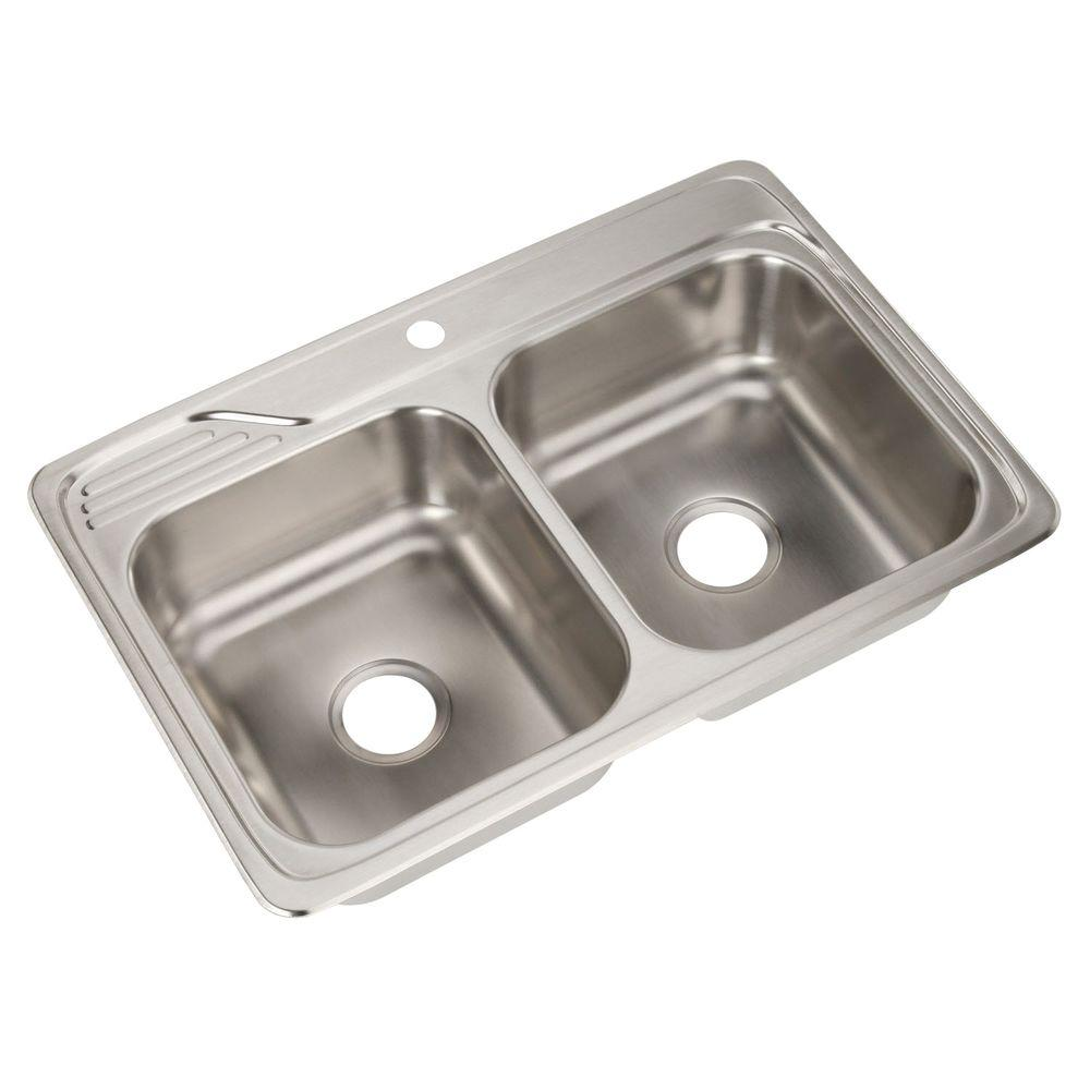 Celebrity Drop-In Stainless Steel 33 in. 1-Hole Double Bowl Kitchen Sink