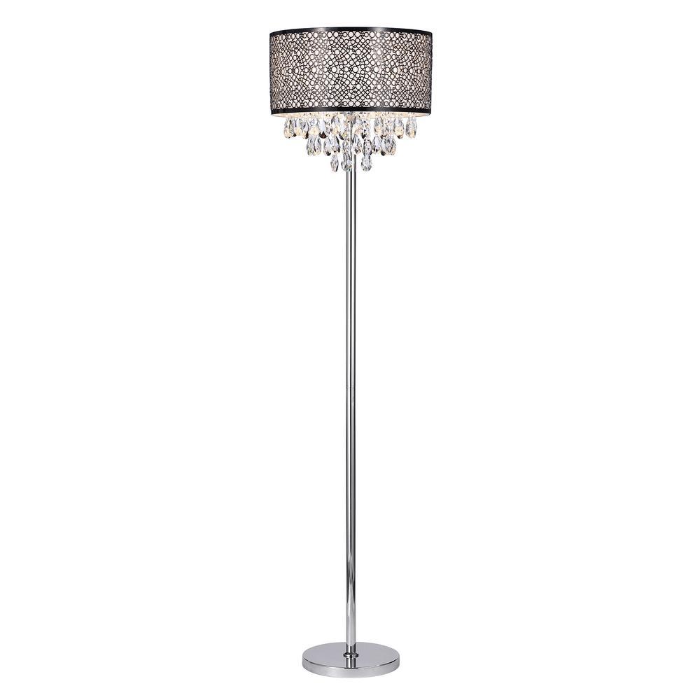 Draida 63 in. Chrome 3-Light Floor Lamp