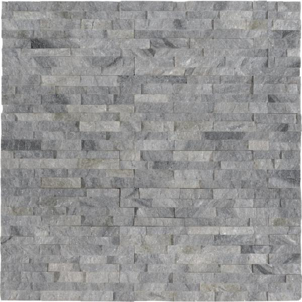 Sky Gray Mini Ledger Panel 4.5 in. x 16 in. Natural Marble Wall Tile (5 sq. ft. / case)