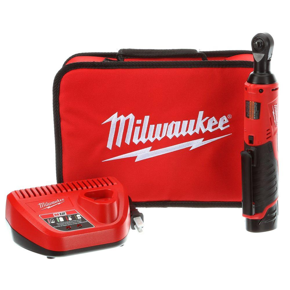 Milwaukee M12 12-Volt Lithium-Ion Cordless 1/4 in. Ratchet Kit w/ (1) 1.5Ah Battery, Charger and Tool Bag
