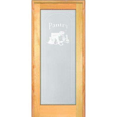 32 in. x 80 in. Left Hand Unfinished Pine Full-Lite Frost Pantry Design Single Prehung Interior Door
