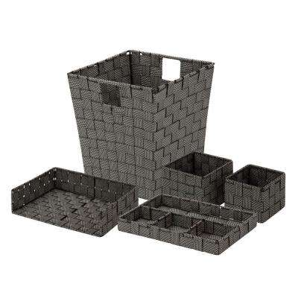 5-Piece Polypropylene Woven Desk Organization Kit in Black