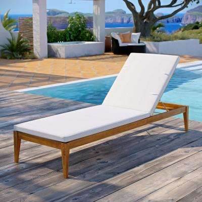 Northlake Natural Grade A Teak Wood Outdoor Chaise Lounge with White Cushions