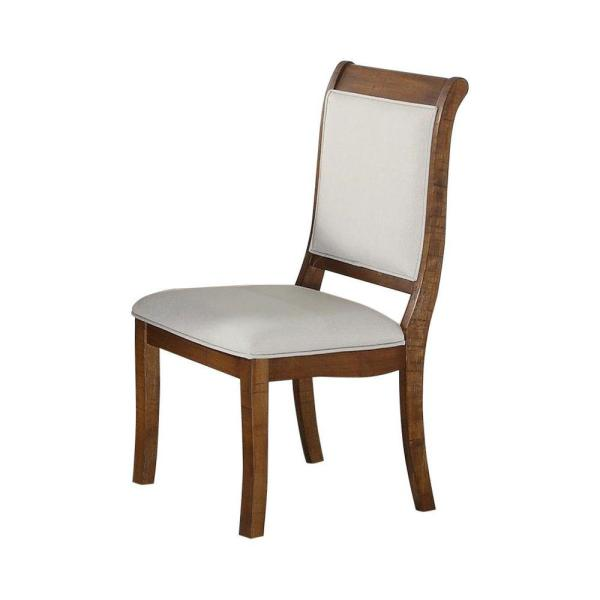 Benzara Brown And White Wooden Dining Chair With Curved Back Set Of