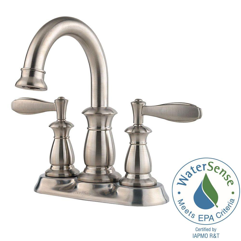 Pfister Langston 4 in. Centerset 2-Handle High-Arc Bathroom Faucet ...