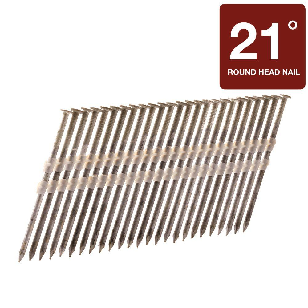 Hitachi 2-3/8 in. x 0.113 in. Full Round-Head Smooth Hot-Dipped Galvanized Plastic Strip Framing Nails (5,000-Pack)