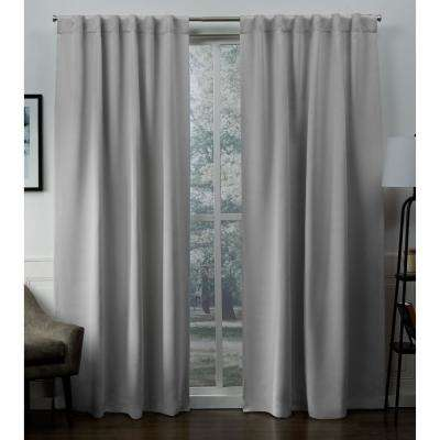 Sateen 52 in. W x 96 in. L Woven Blackout Hidden Tab Top Curtain Panel in Silver (2 Panels)