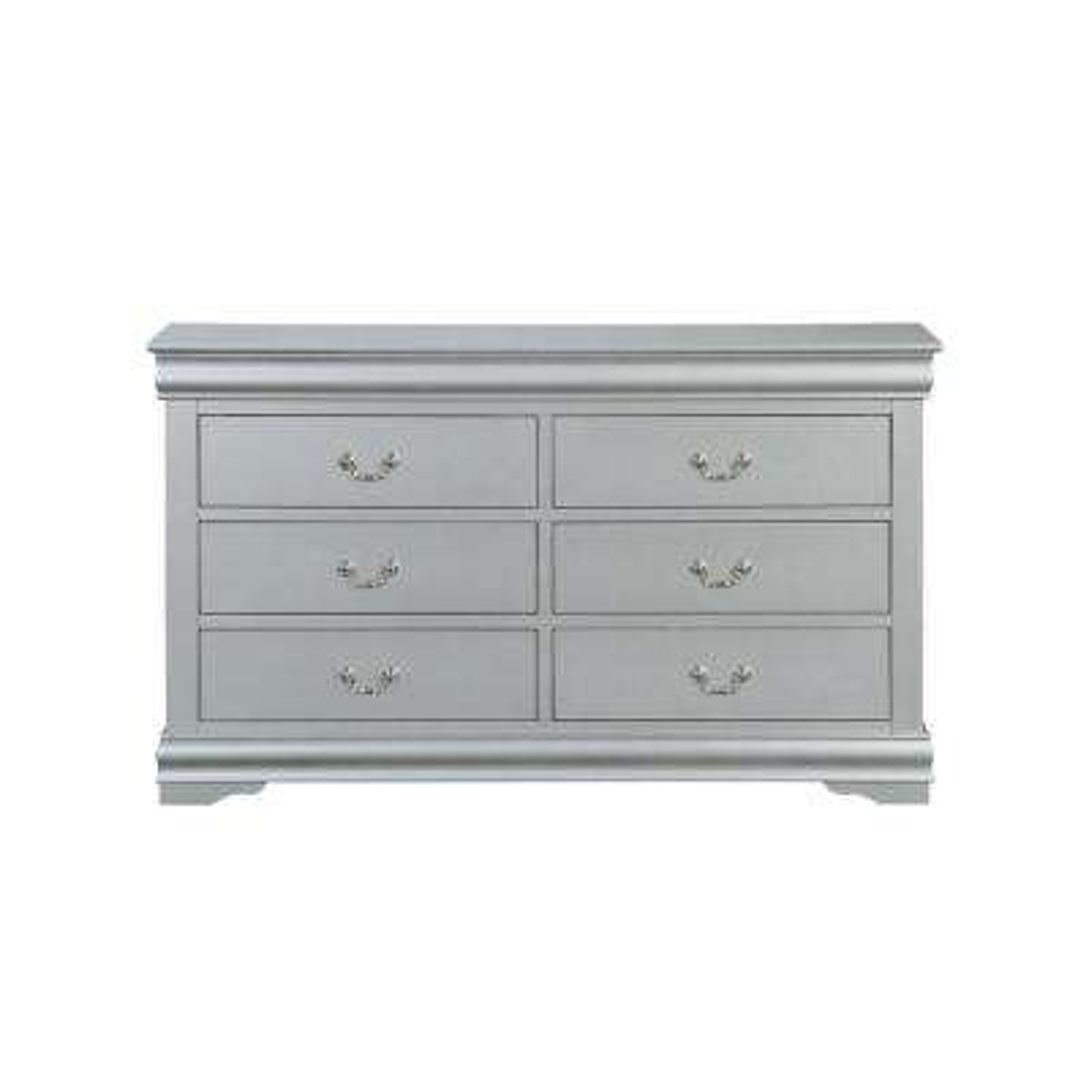 Louis Philippe III 6-Drawers Platinum Dresser