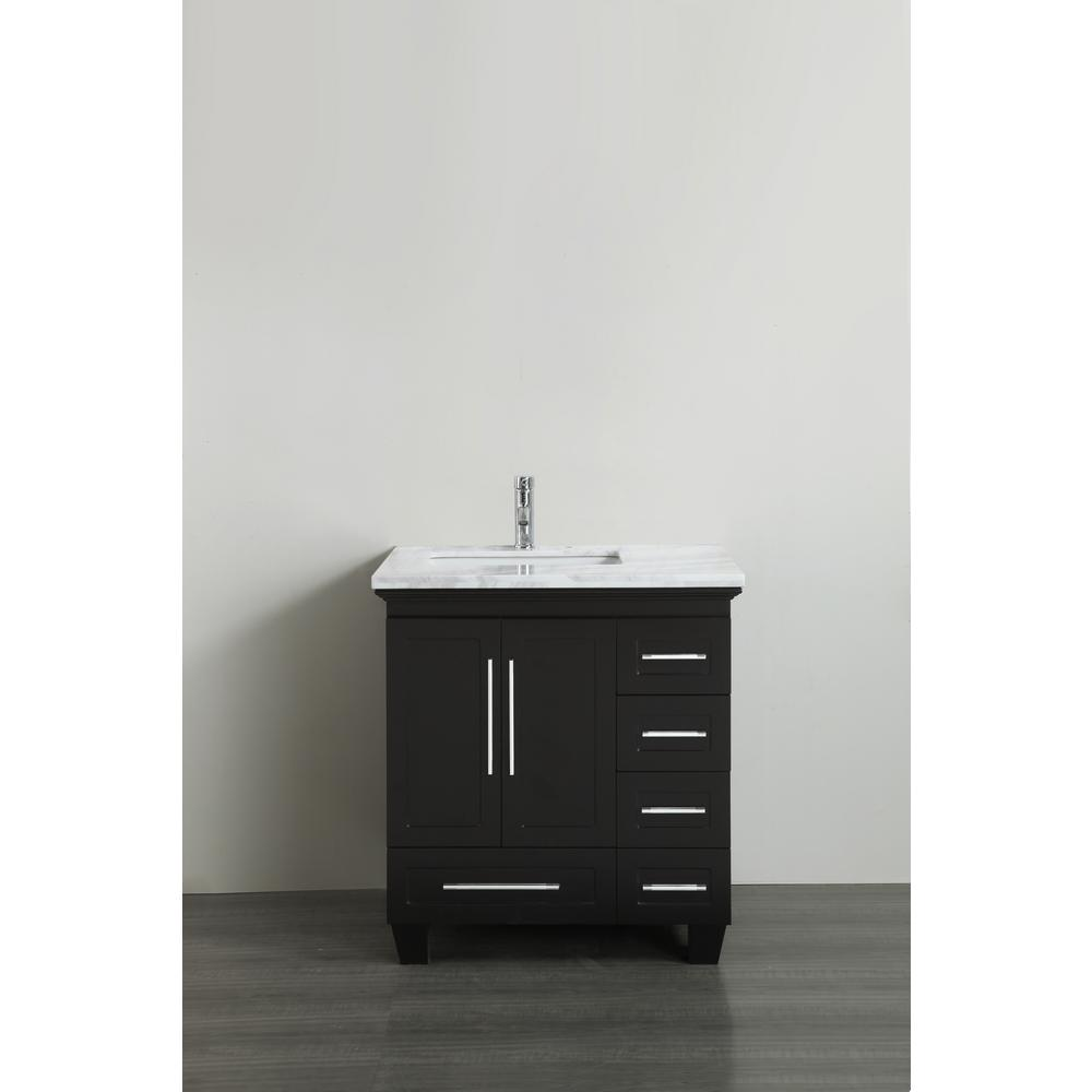 Eviva Loon 30.50 in. W x 22 in. D x 34 in. H Bath Vanity in Espresso with Carrera Marble Vanity Top in White with White Basin