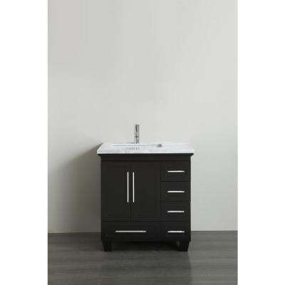 Loon 30.50 in. W x 22 in. D x 34 in. H Bath Vanity in Espresso with Carrera Marble Vanity Top in White with White Basin