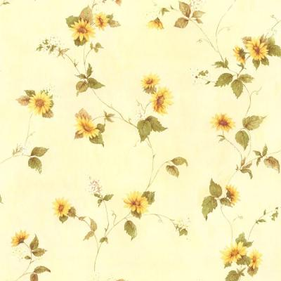 August Yellow Floral Trail Wallpaper