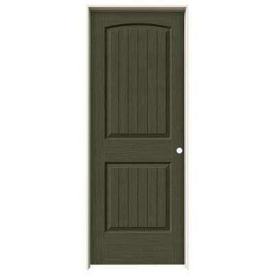 30 in. x 80 in. Santa Fe Juniper Stain Left-Hand Solid Core Molded Composite MDF Single Prehung Interior Door