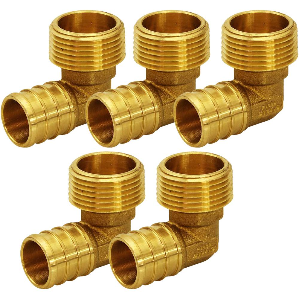 The Plumber's Choice 1/2 in  Brass PEX Barb x 3/4 in  MIP 90-Degree Elbow  Pipe Fitting (5-Pack)