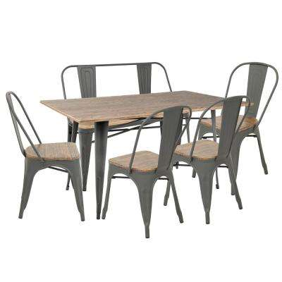 Oregon 6 Piece Grey And Brown Dining Set