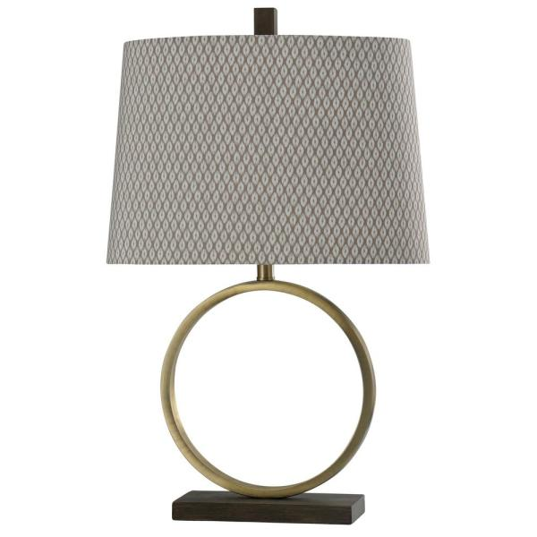 28 in. Brass Table Lamp with Beige Pattern Print Hardback Fabric Shade