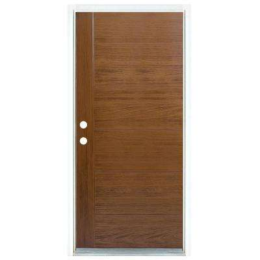 36 in. x 80 in. Medium Oak Right-Hand Inswing Contemporary Teak Stained Fiberglass Prehung Front Door