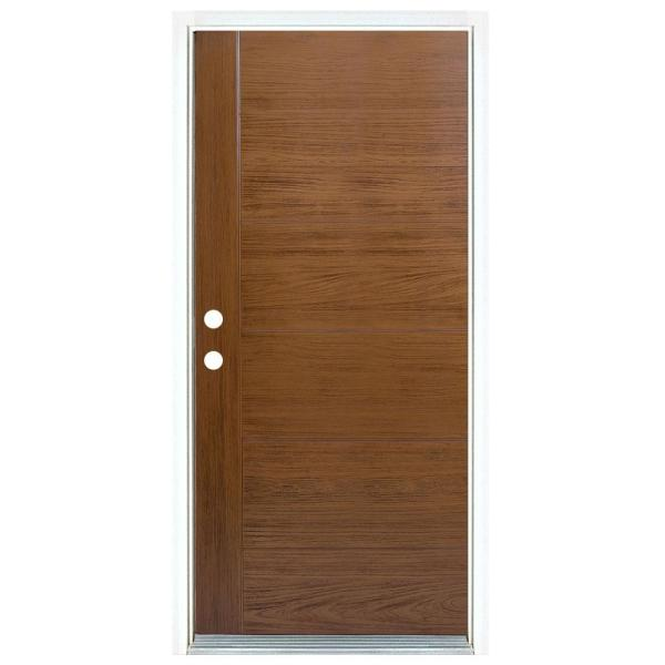 36 in. x 80 in. Medium Oak Right-Hand Inswing Contemporary Teak Stained Fiberglass Prehung Front Door