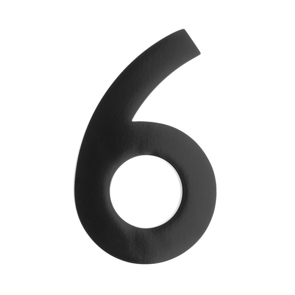 4 in. Black Floating House Number 6