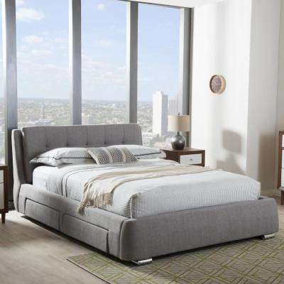 Camile Gray King Upholstered Bed