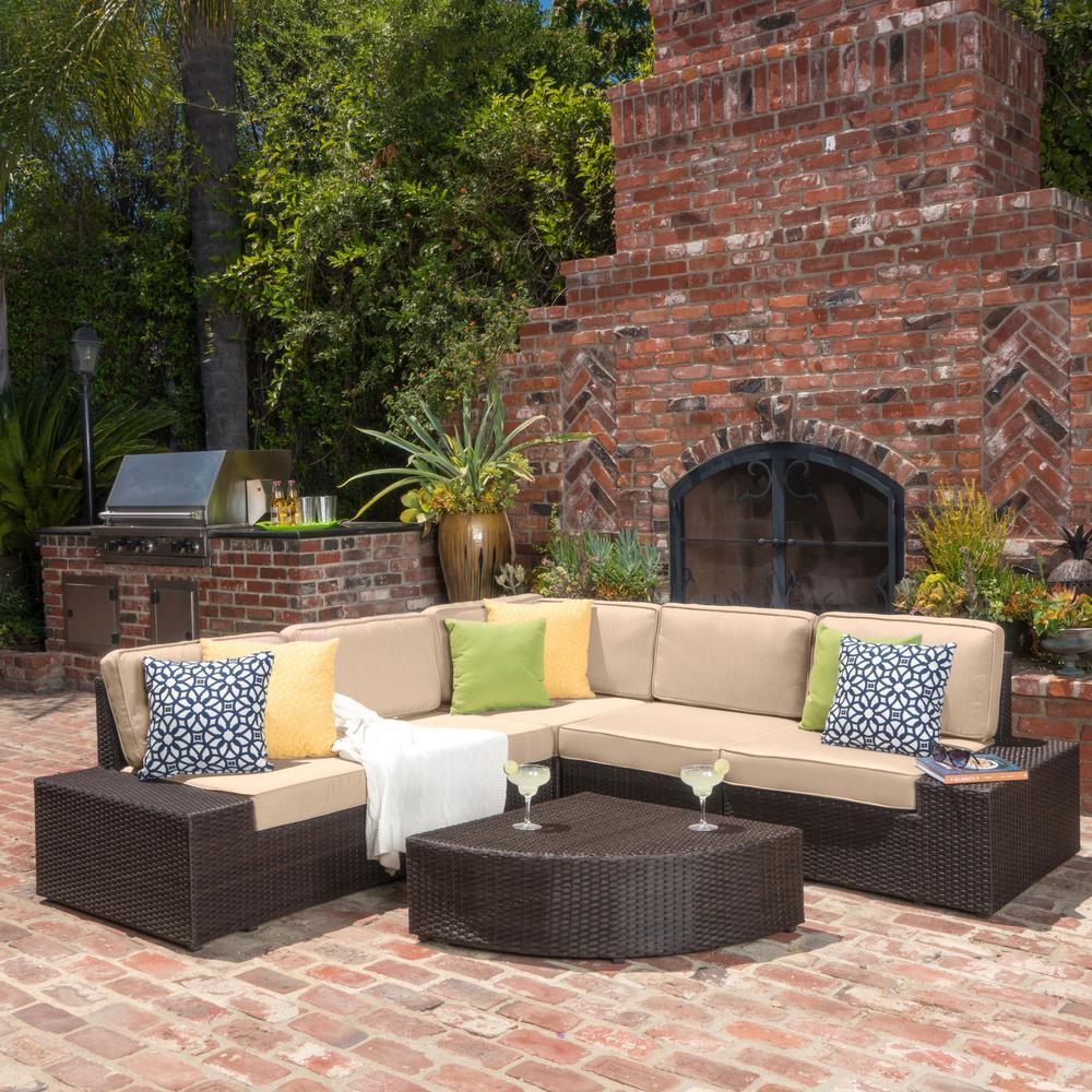 Santa Cruz Dark Brown 6-Piece Wicker Outdoor Sectional Set with Beige Cushions