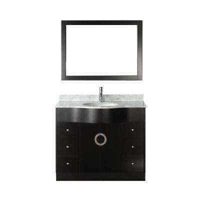 Zoe 42 in. Vanity in Espresso with Marble Vanity Top in Carrara White and Mirror