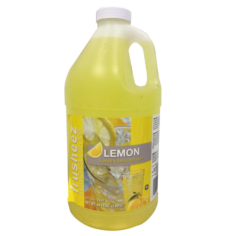 Snappy Popcorn Co. 1/2 Gal. Lemon Frusheez Slush Mix Make great tasting Lemon flavored slushies with this syrup. Mix 4 parts water with 1 part syrup. Comes in a 1/2 Gal. container.