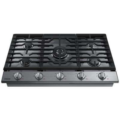 36 in. Gas Cooktop in Stainless Steel with 5 Burners including Power Burner with WiFi