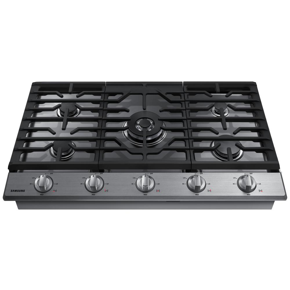 5 Burner Gas Cooktops: Samsung 36 In. Gas Cooktop In Stainless Steel With 5