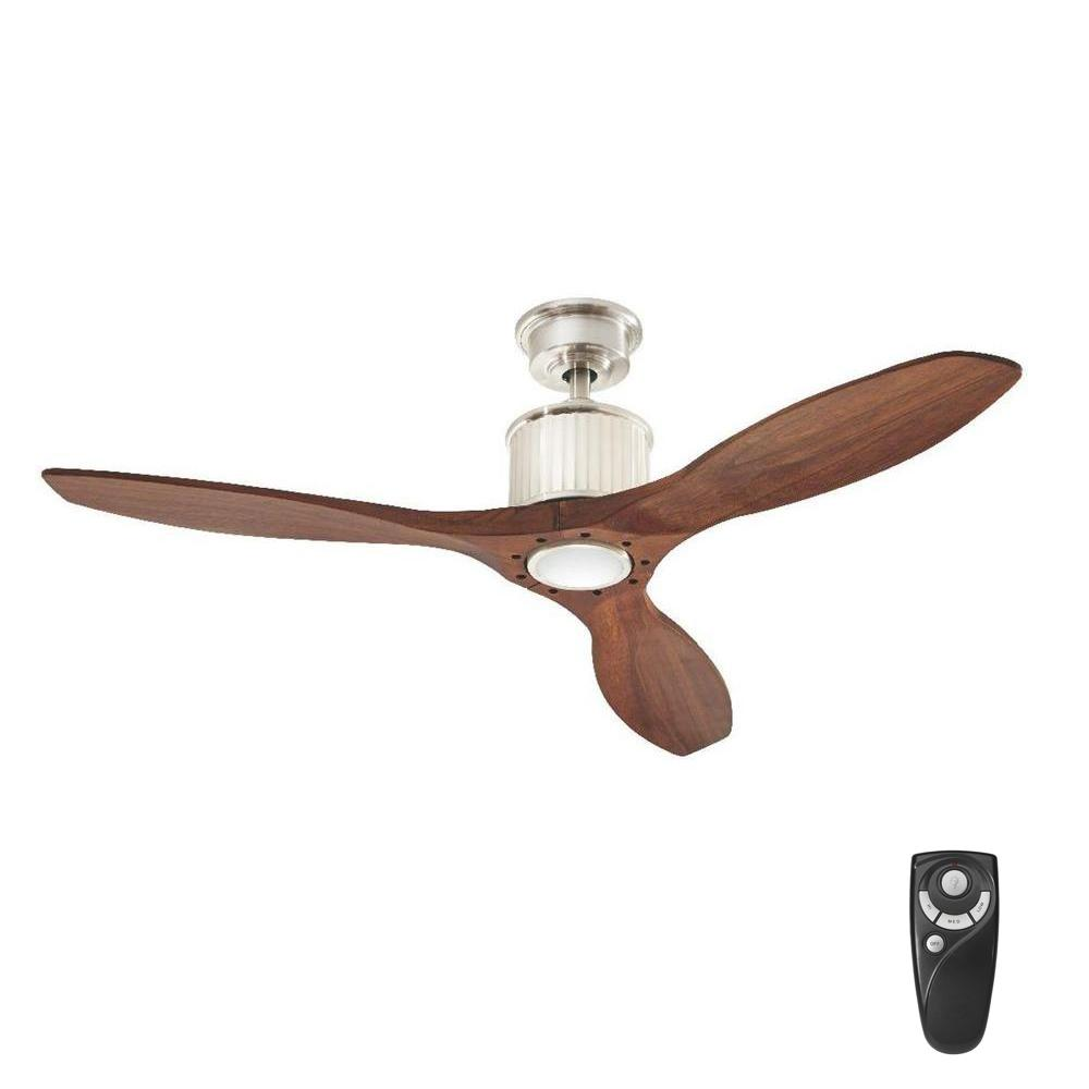 Home Decorators Collection Reagan 52 LED Indoor Brushed Nickel Ceiling Fan With Light Kit And