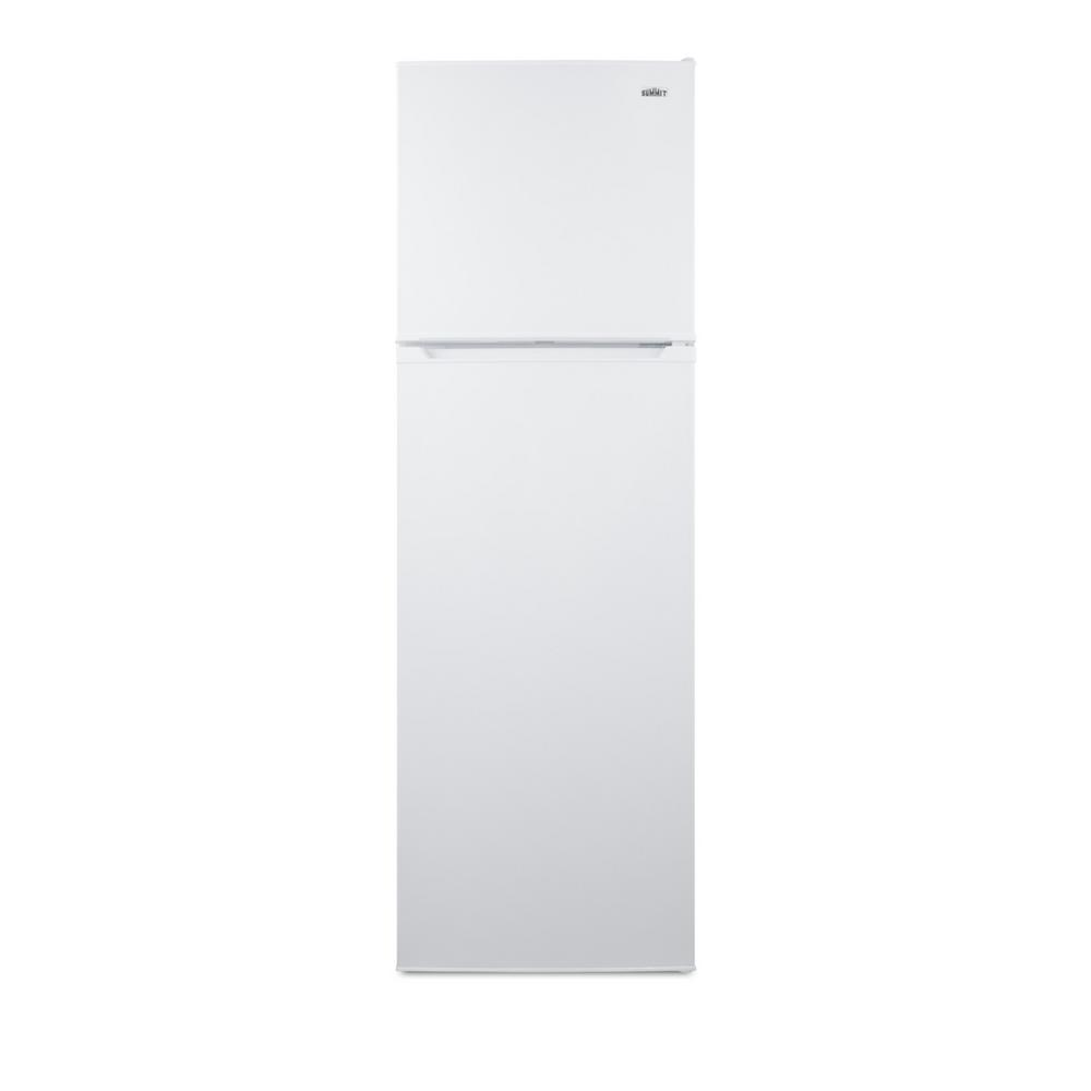 Summit Appliance 22 in. 8.9 cu. ft. Top Freezer Refrigerator in White, Counter Depth Summit's thin-line collection of frost-free refrigerator-freezers brings quality and convenience to even the smallest kitchen space.The FF922W comes in a uniquely slim 21 1/4 with and counter depth fit. The user-reversible doors feature a gentle curve for a professional look. This unit comes in a white finish and features a smooth exterior cabinet.Inside, this unit features a full 8.9 cu.ft. storage capacity. The fresh food compartment includes adjustable glass shelves for spill-proof storage and easy cleaning, with a large humidity-controlled crisper and door racks for tall bottles. The large freezer section includes a removable glass shelf and two door racks for added convenience.With its unique size and user-friendly design, the FF922W is a great choice for space-challenged kitchens with full storage needs. For this unit in stainless steel, see the FF923PL. Additional choices are available. Browse Summit's complete line to complete your small kitchen.
