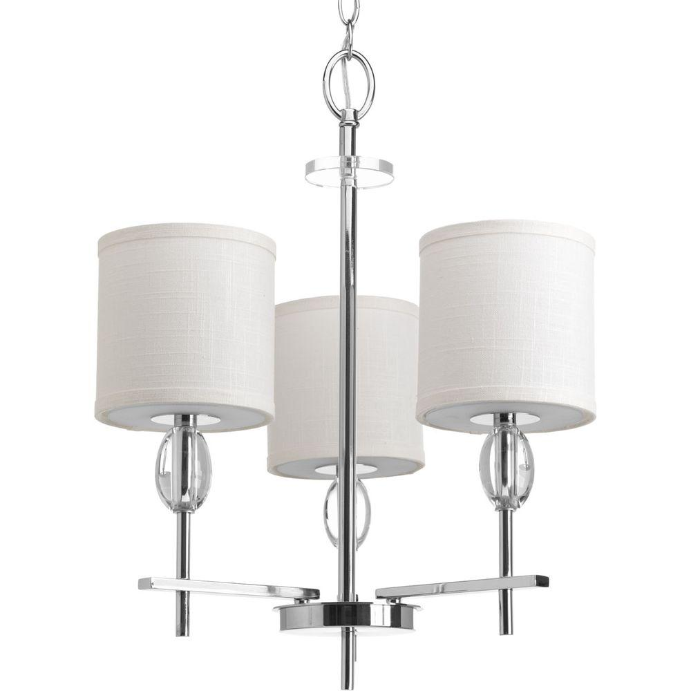 Progress Lighting Status Collection 3 Light Polished Chrome Chandelier With  White Linen Shade P4140 15   The Home Depot