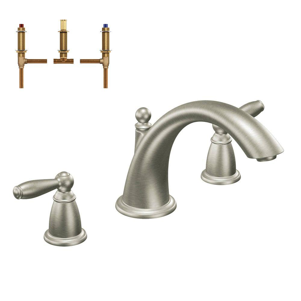 moen oxby roman tub faucet. Brantford 2 Handle Deck Mount Roman Tub Faucet Trim Kit with Valve in MOEN Voss High Arc