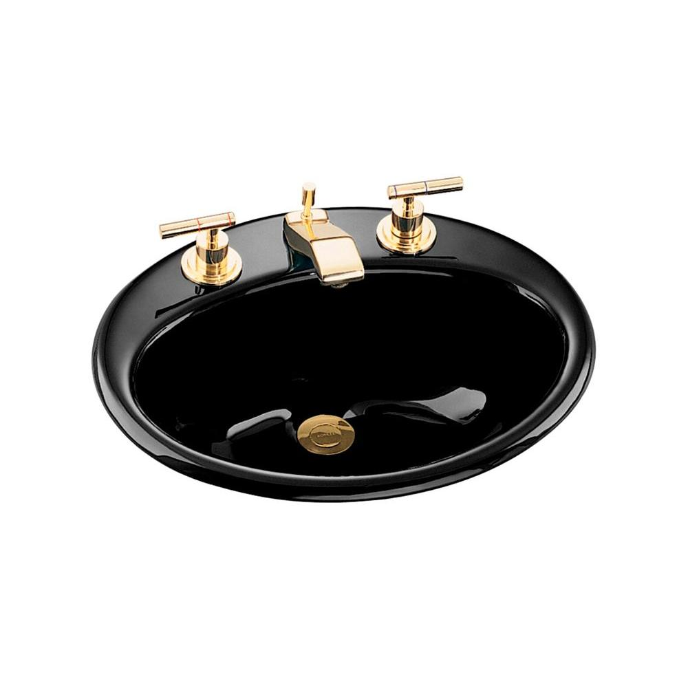 Kohler farmington drop in cast iron bathroom sink in black with overflow drain k 2905 8 7 the Kohler cast iron bathroom sink