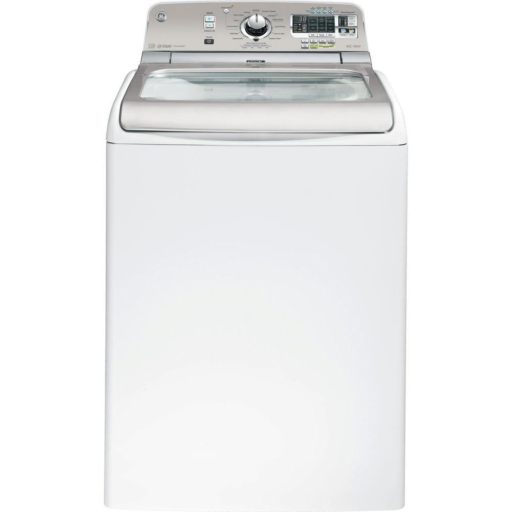 GE 5.0 cu. ft. High-Efficiency Top Load Washer with Steam in White, ENERGY STAR