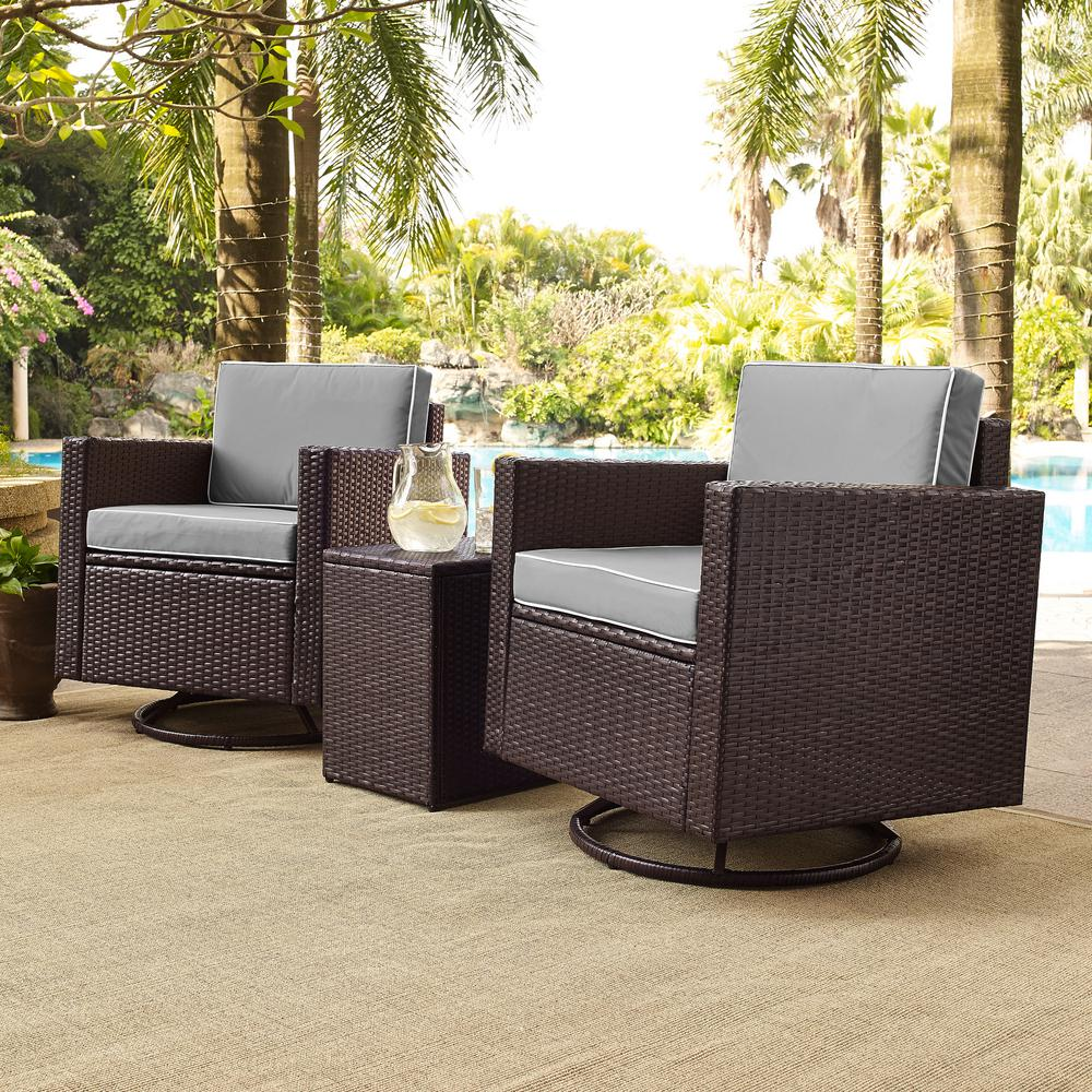 Outstanding Palm Harbor 3 Piece Wicker Patio Outdoor Conversation Set With Grey Cushions 2 Swivel Chairs And Side Table Evergreenethics Interior Chair Design Evergreenethicsorg