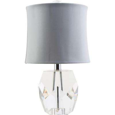 Pacinotti 16.5 in. Clear Indoor Table Lamp with Gray Shade
